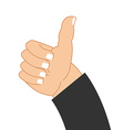 Thumb up hand of businessman Sign well good mood vector image