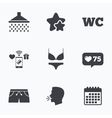 Swimming pool icons Shower and swimwear signs vector image
