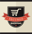 Secured shopping badge vector image