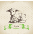 Vintage Easter background with lamb vector image vector image