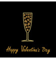Happy Valentines Day Love card Champagne glass vector image