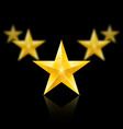 Five gold stars in the shape of wedge on black vector image