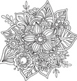 Beautiful graphic flower in doodle style vector image