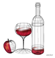 glass of red wine set of glasses vector image
