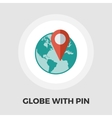 Globe with pin flat icon vector image