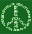 peace for all green bg vector image
