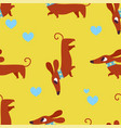 seamless pattern with dachshund and hearts vector image