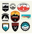 Set of ski patrol mountain badges and logo patches vector image