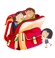 girls and school bag vector image