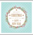 Merry Christmas and Happy New Year greeting card 3 vector image