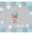 Funny birds bullfinch on winter background vector image