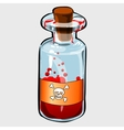 Bottle with red poison and label with skull vector image