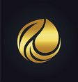 organic bio leaf gold logo vector image
