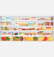 store supermarket shelves shelfs with products vector image
