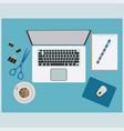 working table with office supplies stuff vector image