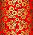 Golden floral ornament on red background in chines vector image