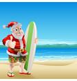 santa on the beach vector image vector image