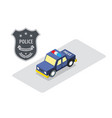 police car badge isometric vector image