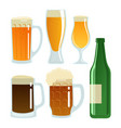 set of beer glasses and bottle vector image