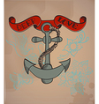 Old-school style tattoo anchor Valentine vector image