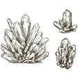 set of crystals drawings vector image