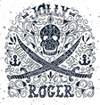 Jolly Roger Hand drawn vintage label with a pirat vector image