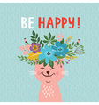 greeting card design be happy lettering vector image vector image