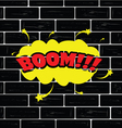 boom on brick wall cartoon vector image