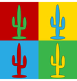 Pop art cactus icons vector image