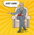 pop art senior businessman sitting in chair vector image