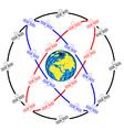 space satellites in eccentric orbits around the ea vector image