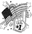 Doodle americana foam hand bw Vector Image