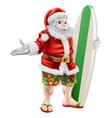 surf santa vector image