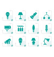 stylized different kind of lighting equipment vector image vector image