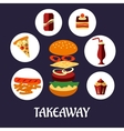 Takeaway food flat poster design vector image vector image