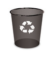 black transparent trash or waste recycle bin vector image vector image