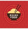 asian food emblem bowl noodles chopsticks vector image