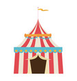 circus tent tops red and white stripes flag on vector image