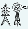 Old windmill and electric pole vector image