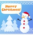 Paper snowman with sign Merry Christmas vector image