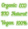 set sticker eco friendly and organic food labels vector image