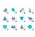 stylized baby and children icons vector image vector image