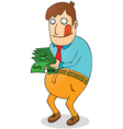 Greedy man with money vector image