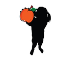 girl with peach in hand silhouette vector image