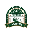 Adventure club badge design with deer and mountain vector image