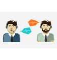 Male call center avatar icons with speech bubbles vector image