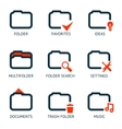 Mobile Apps Folder Icons Set Favorites Settings vector image