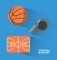 set concept icon basketball sport vector image