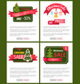 set of christmas sale hot price 50 off posters vector image