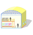 Warehouse shaped dome canvas tent storage section vector image